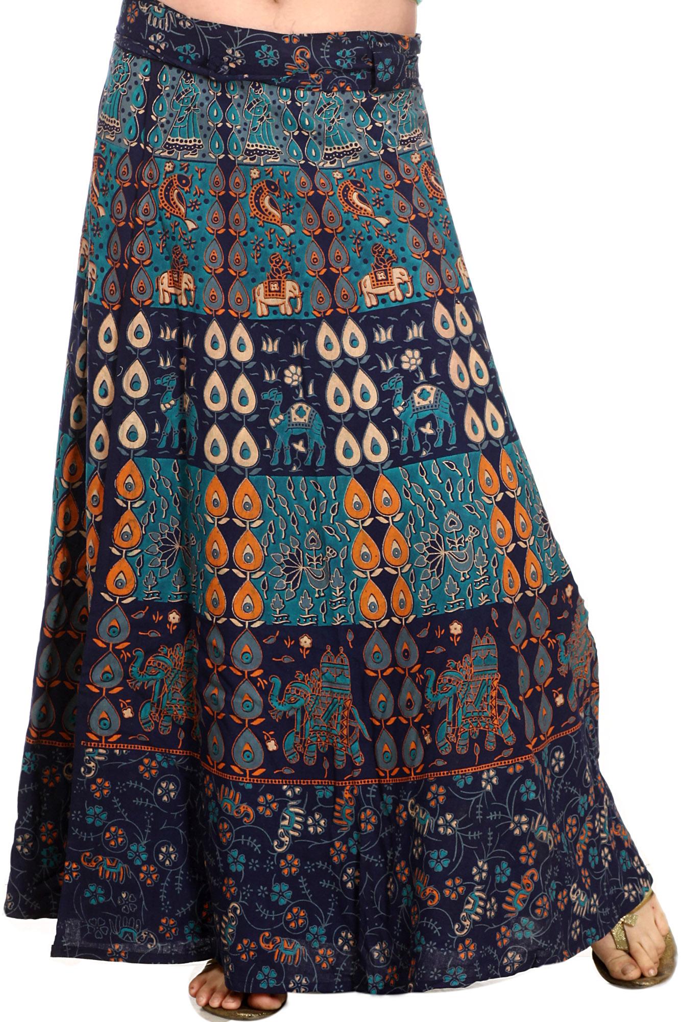 navyblue wraparound long skirt with printed elephants