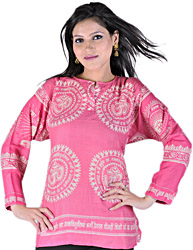 Sachet-Pink Kurti With Printed OM (Aum) And Gayatri Mantra