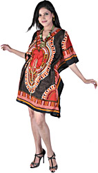 Coffee-Brown and Red Short Boho Kaftan With Dori at Waist