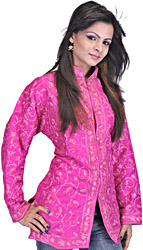 Fuchsia Kashmiri Jacket with Ari Embroidered Paisleys All-Over