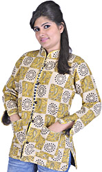 Beige and Brown Printed Reversible Jacket from Pilkhuwa with Straight Stitch