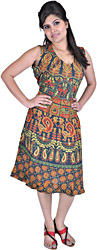 Darkest Spruce-Green Summer Dress With Sanganeri Print