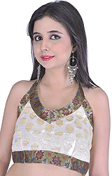 Ivory Backless Choli with Woven Flowers and Banarasi Border