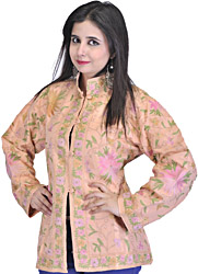 Peach Kashmiri Jacket with Ari Embroidered Flowers All-Over