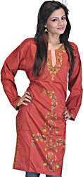 Cinnabar-Red Kashmiri Long Kurti with Hand Embroidered Flowers