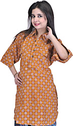 Mustard Kurti from Pilkhuwa with Printed Flowers