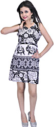 Black and White Short Summer Dresses with Sanganeri Print