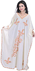 Cloud-Cream Kashmiri Kaftan with Ari-Embroidered Paisleys and Flowers