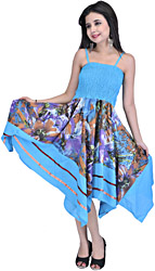 Aquarius-Blue Fish Cut Barbie Dress with Large Printed Flowers and Patch Work