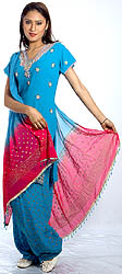 Turquoise Patiala Salwar Kameez with Beads and Sequins