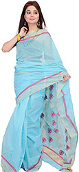 Angel-Blue Chanderi Sari with Wove Lotuses in Red and Golden Thread