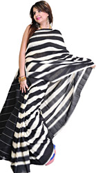 Black and White Striped Double Ikat Sari from Pochampally