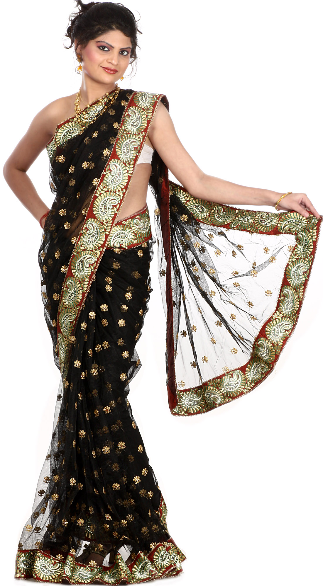 sari thread golden border patch embroidered paisley bootis saris