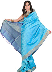 Blue Kanjivarm Sari with Royal Blue border and Hand-woven Leaves