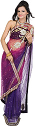 Bridal Boysenberry Sari with Embroidered Beads