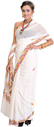 Bright-White Kashmiri Sari with Ari Embroidered Flowers