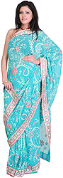Ceramic-Blue Sari with Ari-Embroidery All-Over and Crystals