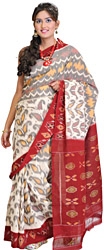 Cream and Maroon Ikat Sari from Pochampally with Hand Woven Paisleys