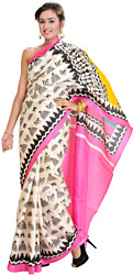 Cream and Pink Bhagalpuri Sari with Printed Figures Inspired by Warli Art