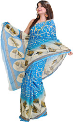 French-Blue Sari with Printed Lotuses