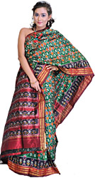Frosty-Green Paan Patola Sari from Pochampally with Ikat Weave