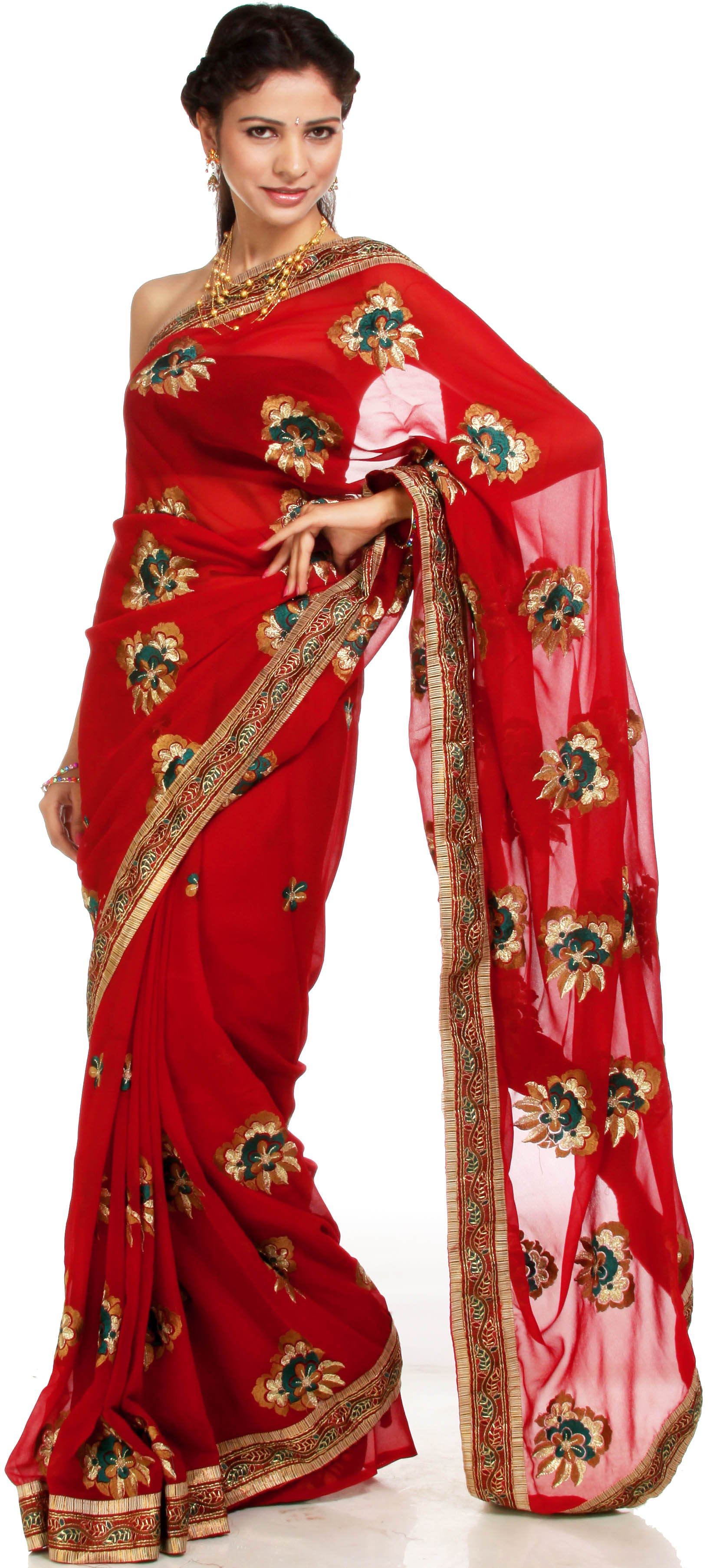 Garnet Red Sari With Large Ari Embroidered Flowers