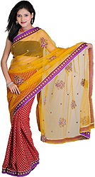 Golden-Glow Wedding Sari with Woven Bootis and Embroidered Paisleys