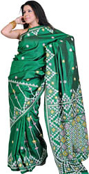 Greener-Pastures Kantha Embroidered Sari from Kolkata with Mirror work