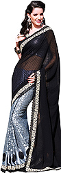 Grey and Black Wedding Sari with Crewel Embroidery and Crochet Border
