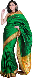 Islamic-Green Paithani Sari with Peacocks woven by Hand