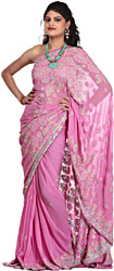 Lilac-Pink Sari with Lukhnavi Chikan Embroidered Paisleys by Hand