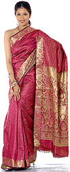 Magenta Tanchoi Sari from Banaras with Golden Thread Weave