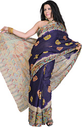 Midnight-Blue Kalamkari Sari from Seemaandhra with Painted Flowers