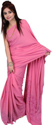 Morning Glory-Pink Kashmiri Sari with Needle Embroidery and Self-Weave