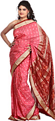 Morning Glory-Pink Sambhalpuri Sari from Orissa with Ikat Weave and Rudraksha Border