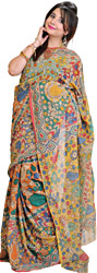 Multi Color Kalamkari Sari from Seemandhra with Painted Flowers