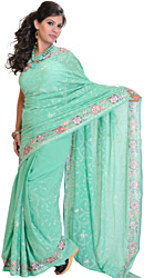 Neptune-Green Wedding Sari with Crewel Embroidered Flowers All-Over