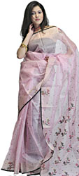 Powder-Pink Chanderi Sari with Woven Bootis and Floral Anchal