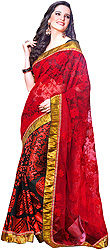 Red Wedding Sari with Self Weave and Gota Border