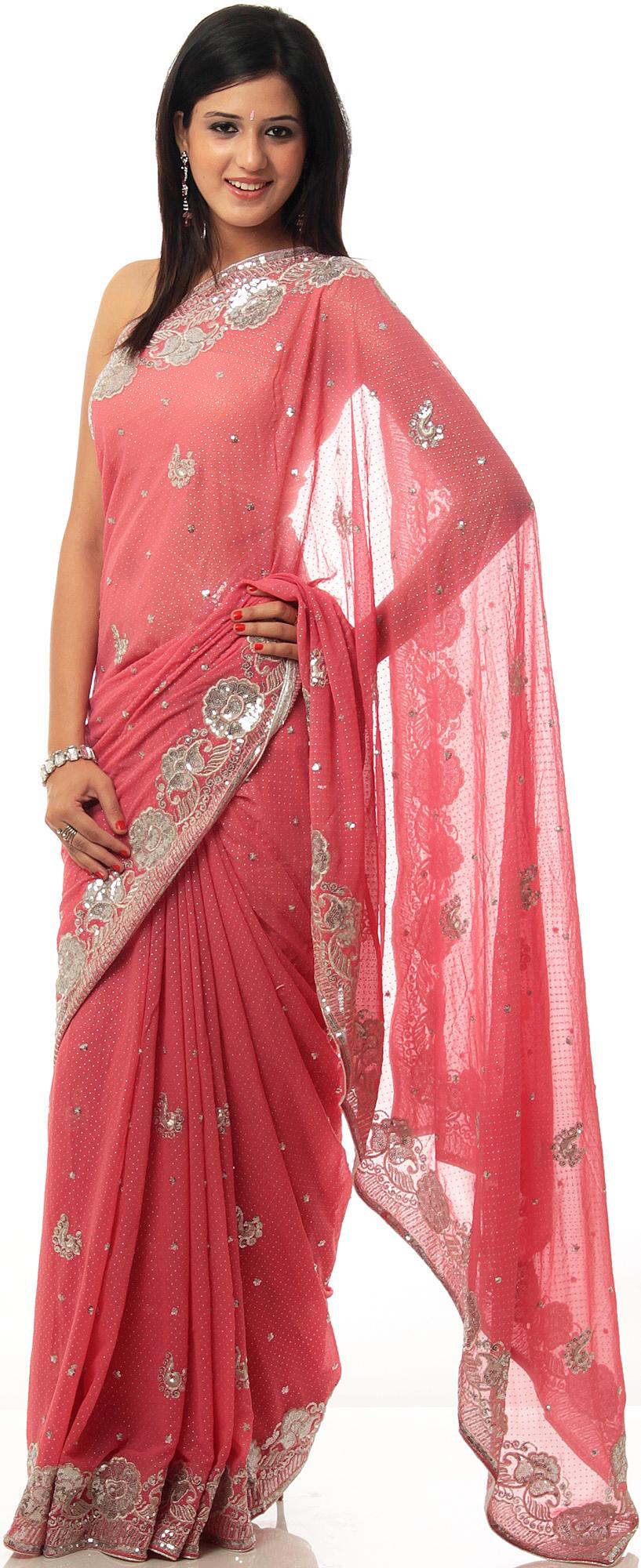 sari saree saris pink pakistan wear still flowers rose indian embroidered colors night dresses