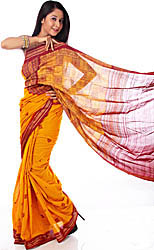 Handwoven Amber Bomkai Sari with Bootis and Rudraksha Border