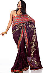 Plum-Perfect Wedding Sari with Floral Embroidery by Hand