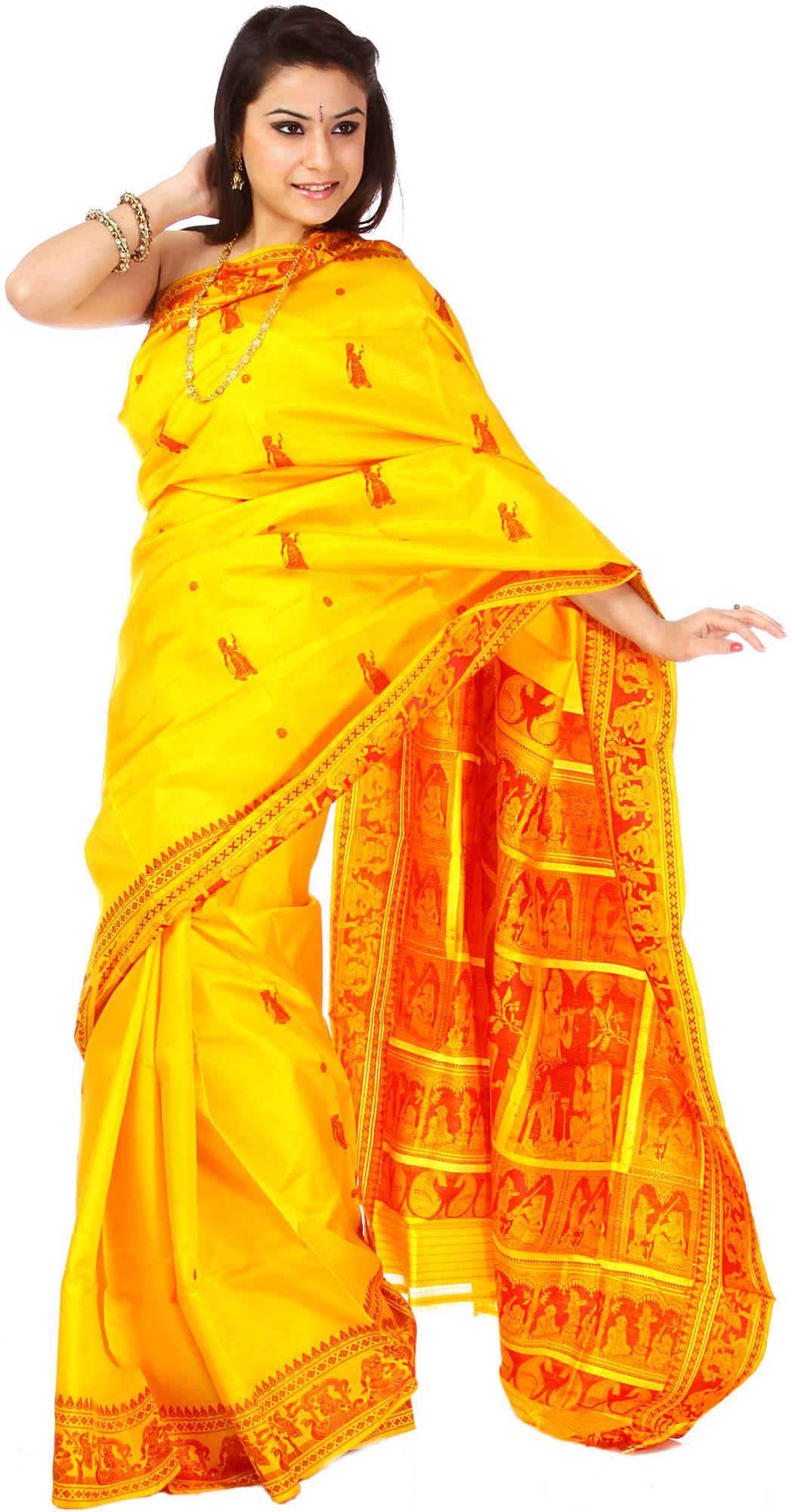 Golden Yellow Baluchari Sari With Woven Radha And Krishna
