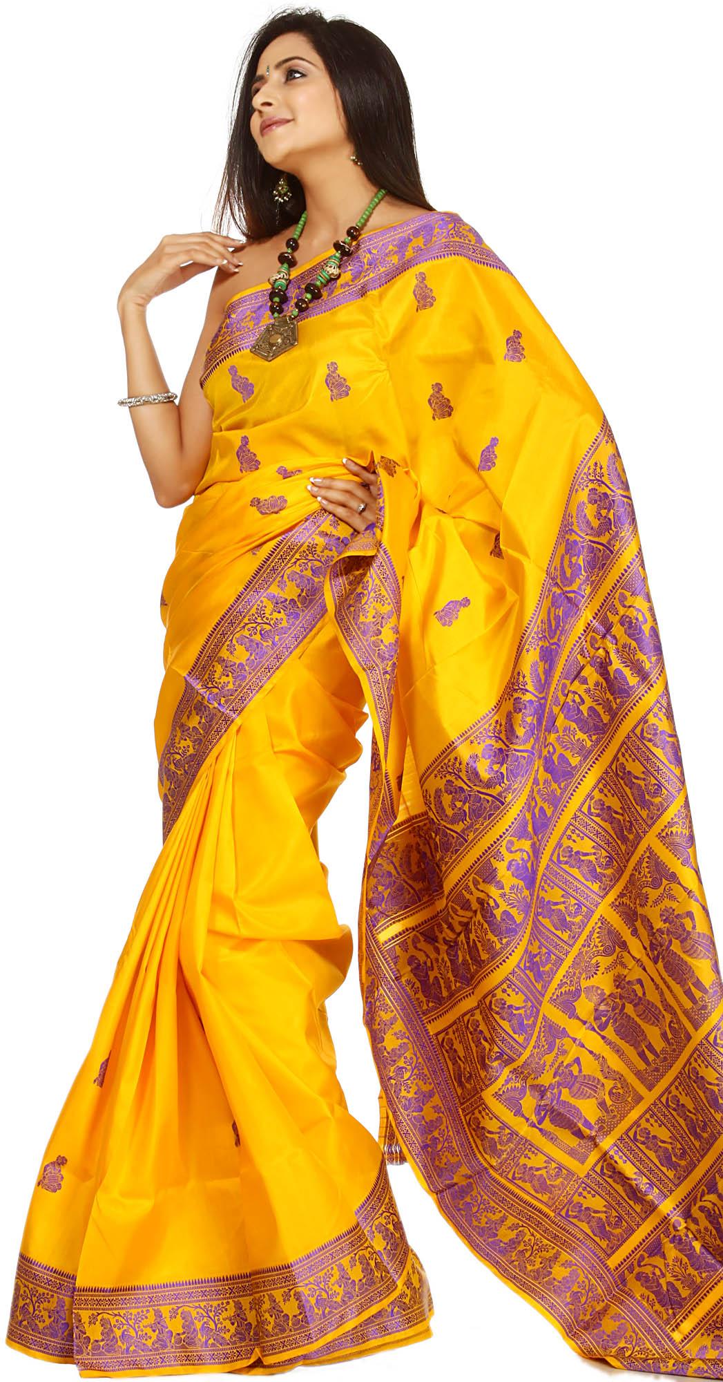 Freesia-Yellow Baluchari Sari Depicting Mythological Episodes