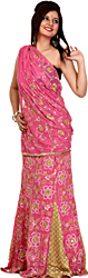 Pink and Beige Designer Lehenga Sari with Sequins Embroidered as Flowers