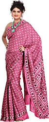 Aurora-Rose Sari with Kantha Stitched Embroidered Flowers All-Over