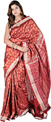 Autumn Glaze-Red Sambhalpuri Sari from Orissa with Ikat Weave and Auspicious Motifs
