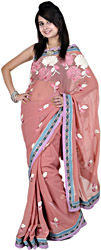 Canyon Rose-Pink Sari with Metallic Thread Embroidered Flowers and Patch Border