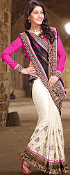 Black and Ivory Designer Sari with Metallic Thread Embroidery and Fuchsia Blouse