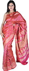 Hot-Pink Banarasi Sari with with All-Over Woven Paisleys by Hand and Brocaded Aanchal